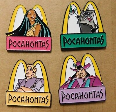 "McDonalds ""Disney's Pocahontas 4 Pin Set ""Pocahontas/John Smith/Meeko/Ratcliffe"""