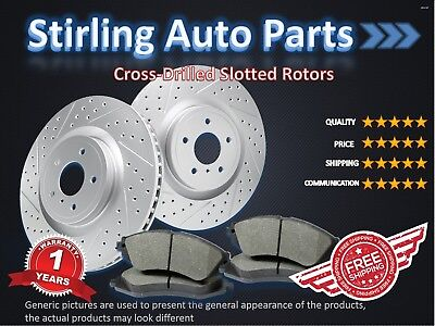 2014 2015 For Mitsubishi Mirage Coated Drilled Slotted Front Rotors and Pads