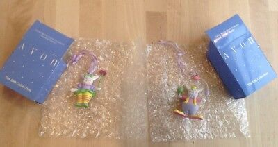 Lot of 2 AVON EASTER Ornaments - Juggling Clown/Parasol Bunny 1991