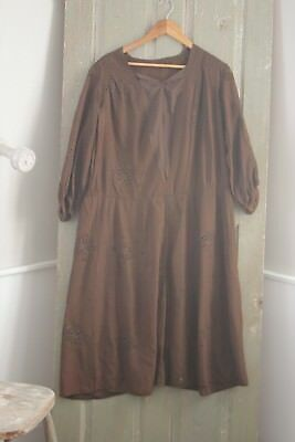 Vintage French 1920's drop waist dress brown with eyelet opening flapper