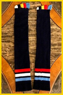Vintage NEW 1970s Womens Beverly Jane Blue Multi Color Toe Socks Soft Knee High