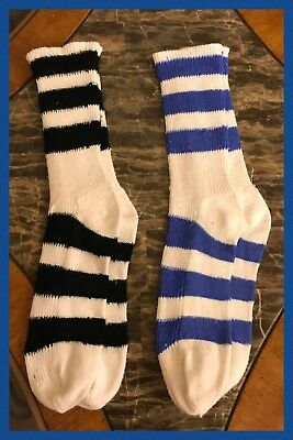 2 Vintage Socks Stripe Beverly Jane Hippy Rockabilly Calf 1970s Womens 9 - 11
