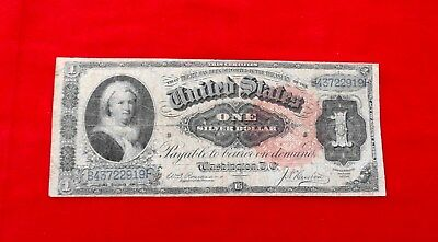 1886 $1 Martha Washington Large Silver Dollar Note With Red Seal