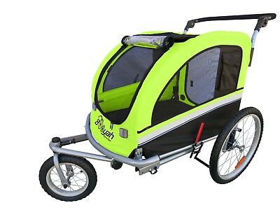 MB Booyah Large Pet Dog stroller and Bike Bicycle Trailer with Suspension Green
