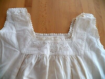 Woman's Vintage Ivory Cotton Sleeveless Nightgown Embroidery Cutwork Lace Trim