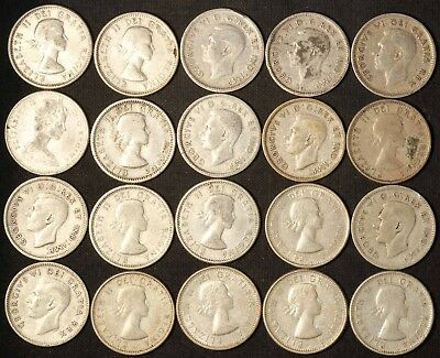 Lot of (20) Canadian Silver Dimes - Free Shipping USA