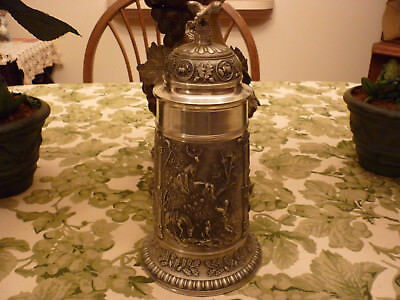 """SKS German Pewter Beer Stein-Over 11"""" tall w/Eagle Lid & Hunting Scenes-Mint"""