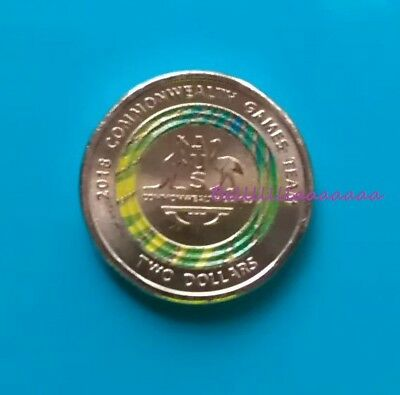 2018 $2 Coin Commonwealth Games Week 3 Green Gold 2018 Two Dollar Coloured Coin