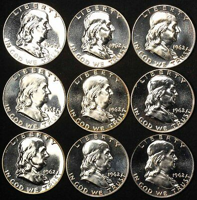 1962 (9) and 1963 (11) Proof Franklin Silver Half Dollars - Free Shipping USA