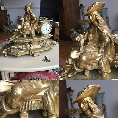 Antique 19th Cen French Gold Gilt Bronze Mantel Clock By Henry Marc Paris