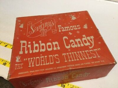 Vintage Christmas Sevigny's World's Thinnest Ribbon Candy Box EMPTY For Decor