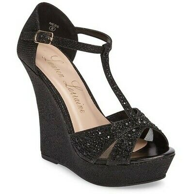 9f7d709e6 Lauren Lorraine Ness Rhinestone Black Sparkle Platform Wedge Dress Sandal  (6.5)