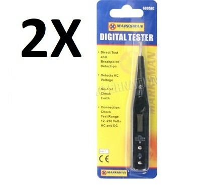 2 X Digital Voltage Tester Ac Dc Testing Pen Electric Detector Lcd 12V 250V New