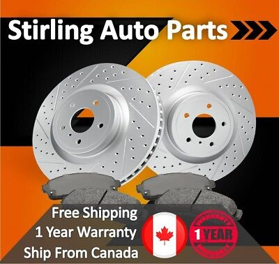 2013 2014 Ford Explorer w/HD Brakes Coated Drilled Slotted Rotors and Pads Rear