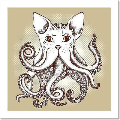 Graphic Girl With Octopus Art Print Home Decor Wall Art Poster C