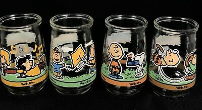 4 Welch's Jelly Jars Peanuts Snoopy Lucy Linus Charlie Brown Sally Schroeder