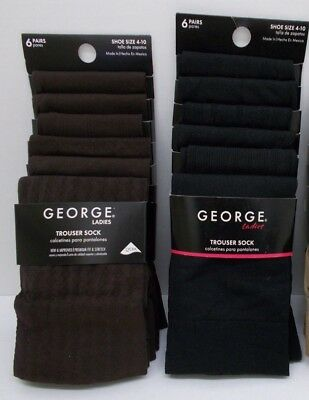 NEW 6 Pairs Pack George Women's Socks Trouser Dress Sock, Black or Brown