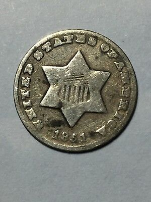 1851 O 3 cent silver in good condition