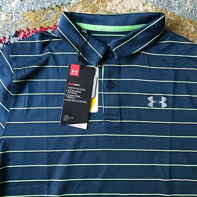 NWT UNDER ARMOUR Boys YLG Golf Polo Heatgear Shirt Loose Fit