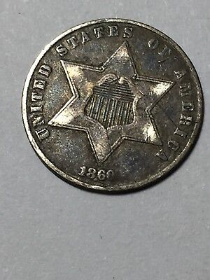 1860 3 cent silver in good condition