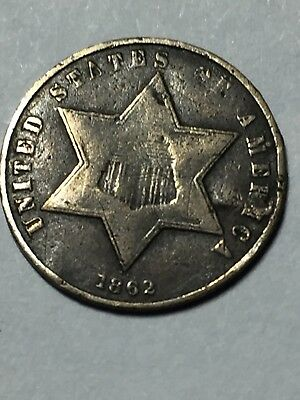 1862 3 cent silver in good condition