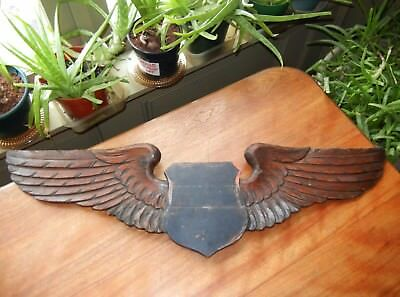 """antique Carved Eagle Wing Wall Plaque Patriotic Military Shield - 32"""" wing Span"""