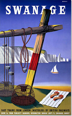 Swanage Trains from London British Railways Vintage Travel Poster Reproduction