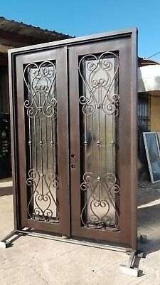 Double Wrought iron double door, forged entry door with glass,  IN STOCK!!