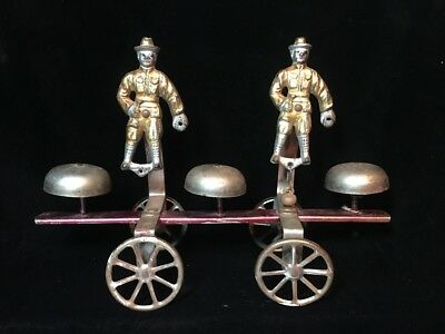 Watrous Painted Cast Iron Steel Bell Toy With Two Soldiers Childs Antique