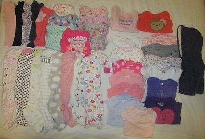 Big Lot 36 Pcs Baby Girl Clothing 0-6 Month Sizes Sleepers, Bodysuits, & More