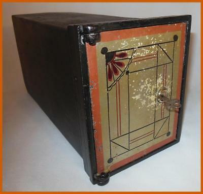 VINTAGE c. 1920-30 ART DECO STEEL CONCEALED WALL SAFE BOX w/ KEY GREAT GRAPHICS