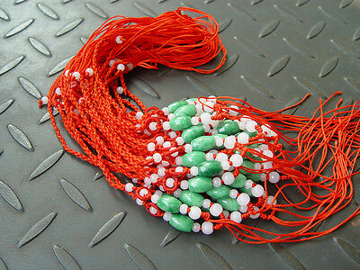 5Pcs Natural JADE Jadeite beads Red Circle string cord rope for pendant W170