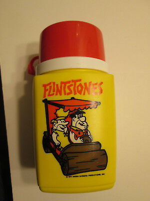 Vintage Flintstones Thermos for Lunchbox - Yellow with Red Cup - 1977