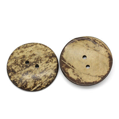 10pcs Coconut Shell Buttons Sewing Scrapbooking Brown Round 2 Holes 5cm Dia J7R5