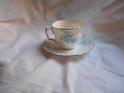 Vintage CROWN STAFFORDSHIRE  Fine Bone China - Cup and Saucer - BLUE FLOWERS