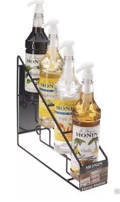 Monin Gourmet Syrup 4 Flavor 750ml Bottle Station Black Rack Food Truck Cafe