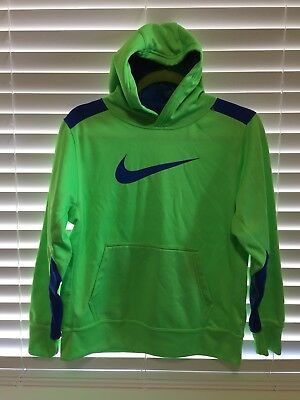 Nike Therma Fit Youth Boys Neon Green/Blue Sweatshirt Hoodie Size Large