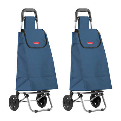 2PK Typhoon Navy Grocery Shopping Cart/Trolley Portable Foldable Bag/Basket