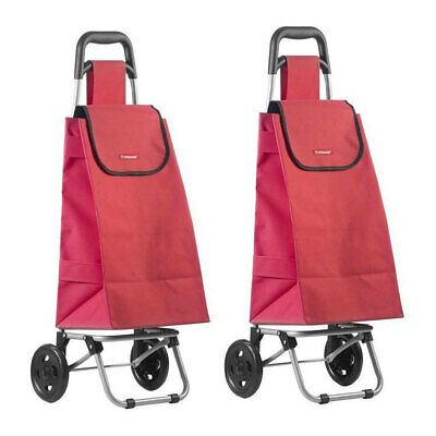 2PK Typhoon Red Grocery Shopping Cart/Trolley Portable Foldable Bag/Basket