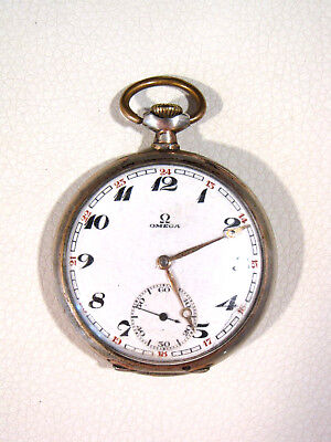 Alte Omega Taschenuhr Bienne Geneve ADJ. 2 Two Positions,15 fifteen Jewels 800er