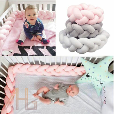 1/2M Baby Infant Plush Crib Bumper Bed Bedding Braid Pillow Pad Safe Protector