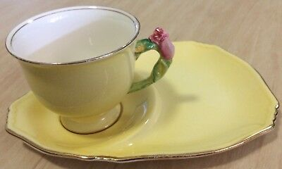 Royal Winton-Grimwades yellow rosebud  tennis set cup and plate
