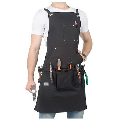 Waxed Canvas Tool Apron-Heavy Duty Work Shop Apron with 12 Pockets, Cross... New