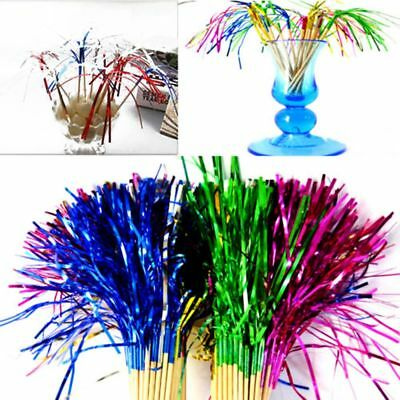 40PCS Favors Glitter Drinks Decoration Cocktail Picks Fireworks Fruit Sticks