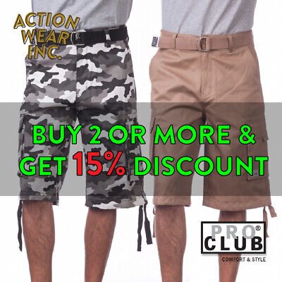 Proclub Pro Club Men's Cargo Shorts 5 Pocket Plain Long Twill Camo Combat Plaid