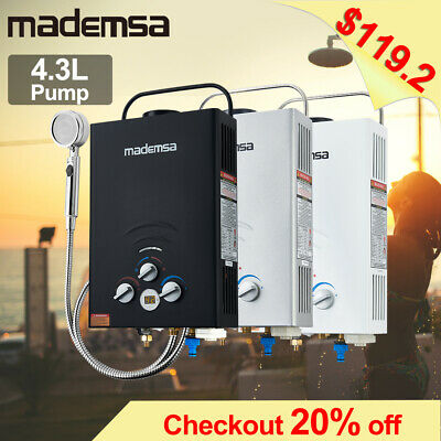 MADEMSA Gas Hot Water Heater LPG Outdoor Instant Portable Camping Shower 4WD RV