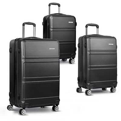 3pc Luggage Set Suitcase Trolley Travel Carry Bag Hard Case 20'' 24'' 28'' Black