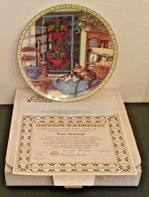 Knowles LAZY MORNING, Cozy Country Corners Series Cat Plate By Hannah H. Ingmire