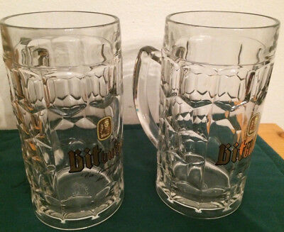 PAIR of Large New-old-stock BITBURGER DIMPLED Glass GERMAN BEER MUGS/STEINS