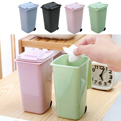 Sturdy Dustbin Wheelie Trash Can Waste Bins Pencil Cup Desktop Plastic Durable